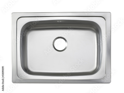 Top view of the sink kitchenware isolated on white