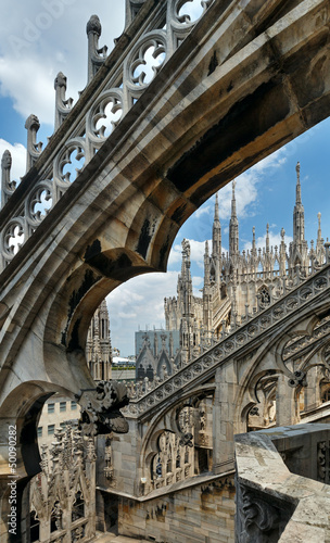 The roof of Milan Cathedra (Italy)