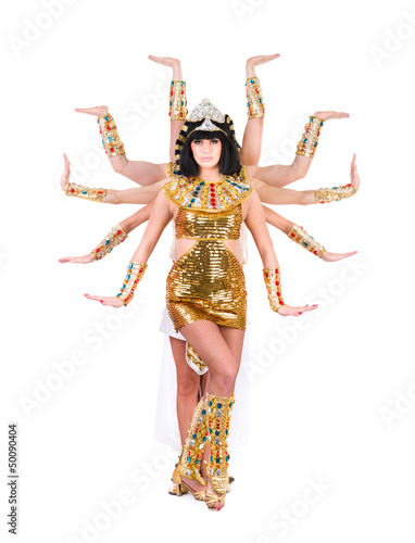 Dancing pharaoh woman wearing a egyptian costume.