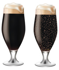 Dark beer in glass with drops