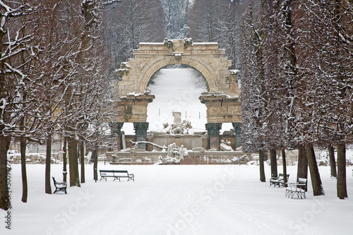 Vienna - Ruins in gardens of Schonbrunn palace in winter.