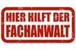 Grunge Stempel rot HIER HILFT DER FACHANWALT