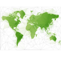 Triangular World Map with largest cities in the world