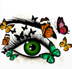Art background with green realistic eye and butterflies
