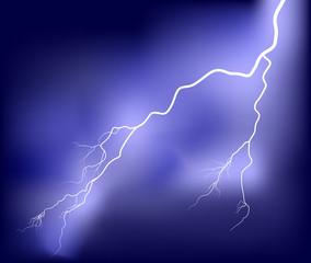 white lightning in dark lilac sky