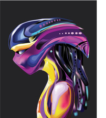 Alien head vector with mesh colors