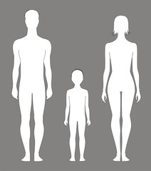 Vector illustration of human's figure. Family. Silhouettes