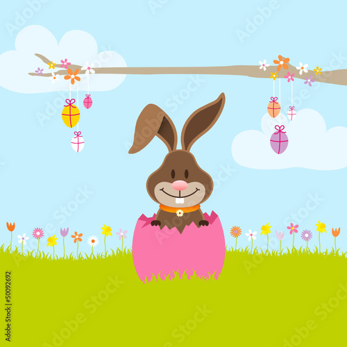 Bunny In Meadow In Pink Eggshell Tree Eggs