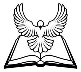 Christian Bible Dove Concept
