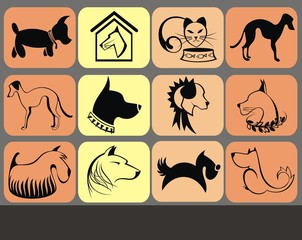 Dogs and cat silhouette icons