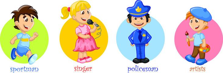 Мультфильм милый полицейский, художник, певец, спортсмен