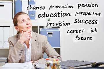Senior business woman thinking about career