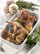 roasted rabbit with herbs and garlic