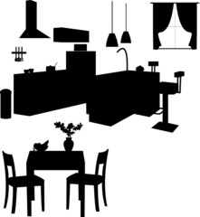 Kitchen interior silhouette