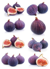 Set of many fig fruits isolated on white background