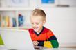 kleiner junge schaut auf laptop
