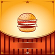 Hot Hamburger. Vector graphic Illustration with place for text