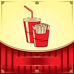 Fast food with cola and fries. Vector illustration.
