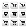 Shopping cart vector buttons set