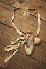 Pair of Ballet Shoes with Ribbon in Heart Shape