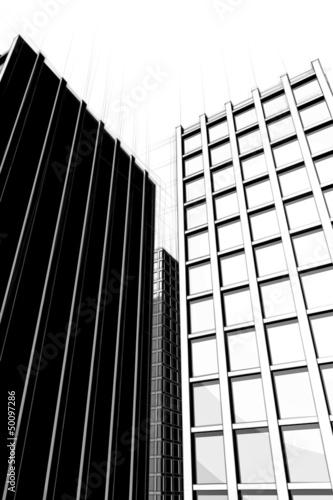 dark drawing of urban architecture