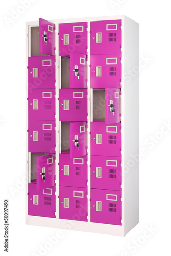 Beautiful violet lockers isolated on white background