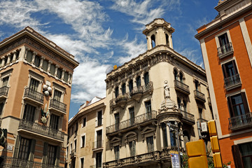 Facades on the street La Rambla on Barselona