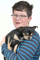 boy with small dog