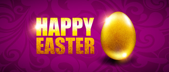 Easter background with golden egg