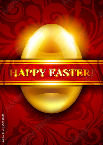 Happy easter greetings card with golden egg on red background