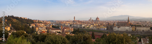 Panorama of Florence at sunrise, Firenze, Tuscany, Italy, Europe