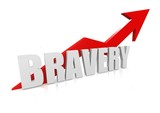 Bravery with upward red arrow