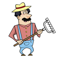 Cartoon Landscaper with Rake