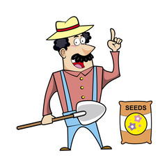 Cartoon Landscaper with Shovel and Seed Bag