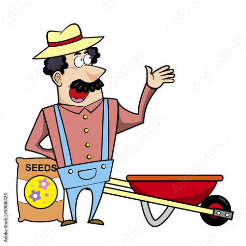 Cartoon Landscaper with Wheelbarrow and Seed Bag