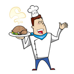 Cartoon Chef with Roast Turkey