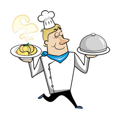 Cartoon Chef with Pasta Bowl and Serving Tray