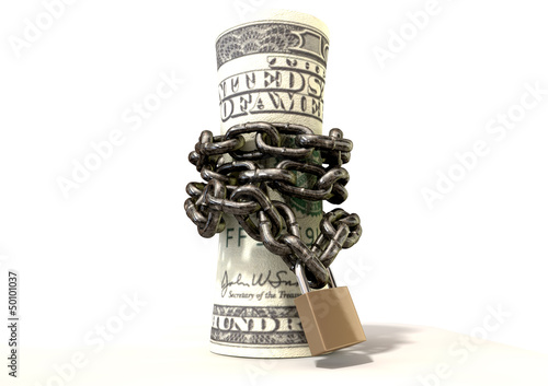 Rolled Up And Shackled Dollars Standing