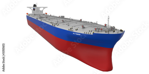 Oil Tanker Isolated on White Background