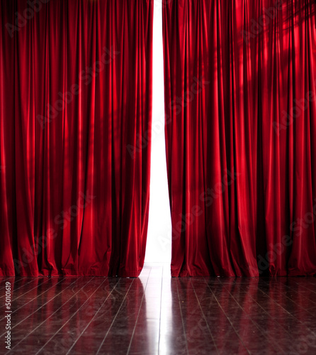 Theater red curtain opening
