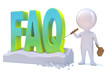 "Little man carves the acronym ""FAQ"""