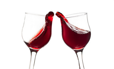 Cheers! Two red wine glasses, toast gesture, isolated on white