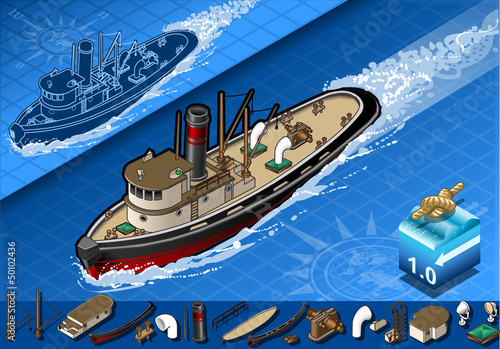 isometric old tugboat in navigation