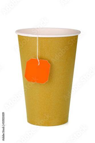 Cardboard tea cup with teabag