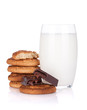 Glass of milk, cookies and chocolate