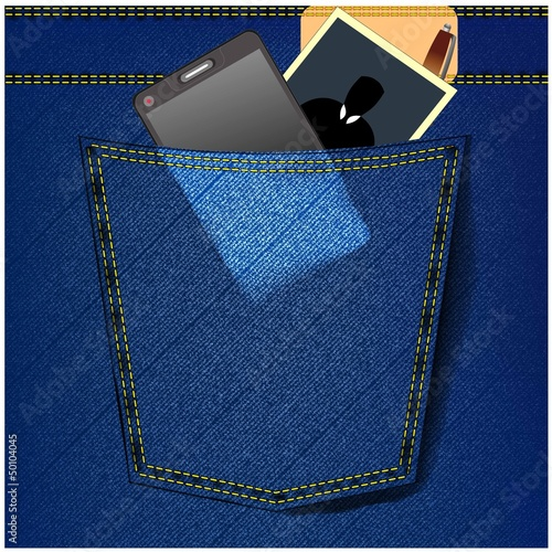 jeans with foto,pen, mobile