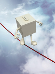 ballot box poised on the wire
