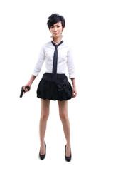 korean girl with a hand gun