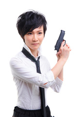 korean girl with a hand gun