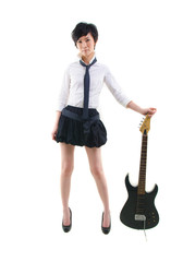 japanese girl with electric guitar